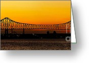 Barry Greeting Cards - Barry Bridge Sunset Greeting Card by Nick Zelinsky