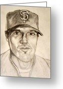 All Star Drawings Greeting Cards - Barry Zito Giants Starting Pitcher Greeting Card by Donald William