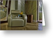 Hyper-realism Greeting Cards - Bart on Chair w Mirror Greeting Card by Tony Chimento