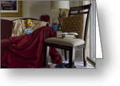 Hyper-realism Painting Greeting Cards - Bart on Couch with Red Blanket Greeting Card by Tony Chimento