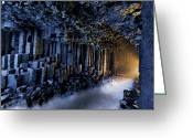 Caves Greeting Cards - Basalt Pillars Line Fingals Cave Greeting Card by Jim Richardson