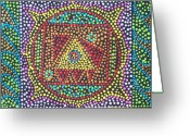 Stippling Greeting Cards - Base Chakra Greeting Card by Vijay Sharon Govender