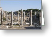Romans Greeting Cards - Base of Trajans Column and the Basilica Ulpia. Rome Greeting Card by Bernard Jaubert