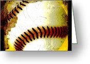 Baseball Print Greeting Cards - Baseball Abstract Greeting Card by David G Paul