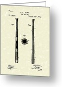 Baseball Artwork Greeting Cards - Baseball Bat 1885 Patent Art Greeting Card by Prior Art Design