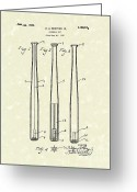 Bat Greeting Cards - Baseball Bat 1924 Patent Art Greeting Card by Prior Art Design