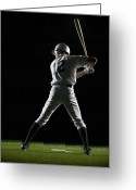 Baseball Cap Greeting Cards - Baseball Batter In Batting Stance, Rear View Greeting Card by PM Images
