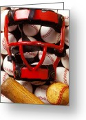 Games Photo Greeting Cards - Baseball catchers mask and balls Greeting Card by Garry Gay