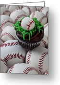 Game Greeting Cards - Baseball cupcake Greeting Card by Garry Gay