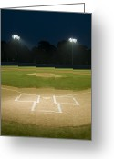Mound Greeting Cards - Baseball Field At Night Greeting Card by Whit Preston