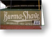 Birmingham Greeting Cards - Baseball Field Burma Shave Sign Greeting Card by Frank Romeo