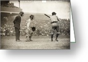 Umpire Greeting Cards - Baseball Game, 1908 Greeting Card by Granger