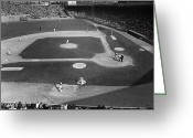 Pennant Greeting Cards - Baseball Game, 1967 Greeting Card by Granger