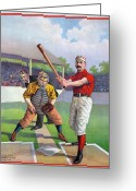 Umpire Greeting Cards - BASEBALL GAME, c1895 Greeting Card by Granger