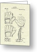 Baseball Artwork Greeting Cards - Baseball Glove 1910 Patent Art Greeting Card by Prior Art Design