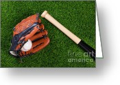 Bat Greeting Cards - Baseball glove bat and ball on grass Greeting Card by Richard Thomas