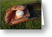 Glove Greeting Cards - Baseball Gloves After the Game Greeting Card by Anna Lisa Yoder