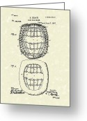 Baseball Art Greeting Cards - Baseball Mask 1887 Patent Art Greeting Card by Prior Art Design