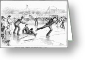 Baseball Game Greeting Cards - Baseball On Ice, 1884 Greeting Card by Granger