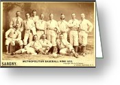 Baseball Photographs Greeting Cards - Baseball Panoramic Metropolitan Nine Circa 1882 Greeting Card by Pg Reproductions