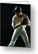 Baseball Cap Greeting Cards - Baseball Pitcher About To Pitch, Close-up Greeting Card by PM Images