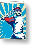 Illustration Greeting Cards - Baseball Player Batting Retro Greeting Card by Aloysius Patrimonio
