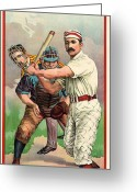 Umpire Greeting Cards - BASEBALL PLAYER, c1895 Greeting Card by Granger