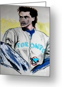 Toronto Blue Jays Mixed Media Greeting Cards - Baseball Player Greeting Card by First Star Art