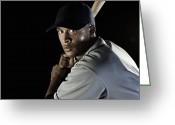Baseball Cap Greeting Cards - Baseball Player Greeting Card by Patrik Giardino