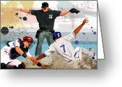 Baseball Cap Greeting Cards - Baseball Player Safe At Home Plate Greeting Card by Greg Paprocki