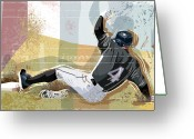 Glove Digital Art Greeting Cards - Baseball Player Sliding Into Base Greeting Card by Greg Paprocki