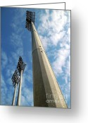 Halogen Greeting Cards - Baseball Stadium Lights Greeting Card by Yali Shi