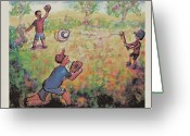 Baseball Paint Greeting Cards - Baseball Greeting Card by Suzanne  Marie Leclair