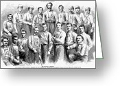 Sports Glass Greeting Cards - Baseball Teams, 1866 Greeting Card by Granger