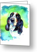 Beagle Greeting Cards - Basett Hound Greeting Card by Christy  Freeman