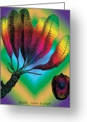 E-collage Greeting Cards - Basia Plant Greeting Card by Eric Edelman