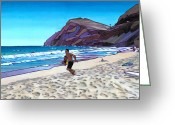 Waves Painting Greeting Cards - Basic Makapuu Greeting Card by Douglas Simonson