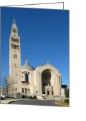 Washington Cathedral Greeting Cards - Basilica in Washington DC Greeting Card by Olivier Le Queinec