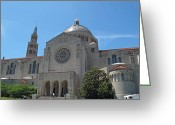 Byzantine Greeting Cards - Basilica of the National Shrine Greeting Card by Barbara McDevitt
