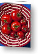 Nourishment Greeting Cards - Basket full of red tomatoes  Greeting Card by Garry Gay