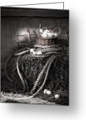 Antique Basket Greeting Cards - Basket of eggs on a bale of hay Greeting Card by Sandra Cunningham