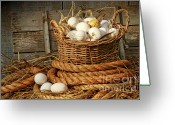 Antique Basket Greeting Cards - Basket of eggs on straw Greeting Card by Sandra Cunningham