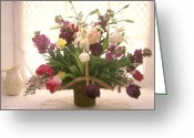 Curtain Greeting Cards - Basket of flowers in window Greeting Card by Garry Gay