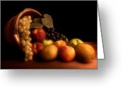 Peach Greeting Cards - Basket of Fruit Greeting Card by Tom Mc Nemar