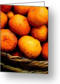 Food Greeting Cards - Basket of Oranges by Darian Day Greeting Card by Olden Mexico