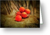 Antique Basket Greeting Cards - Basket of Oranges Greeting Card by Jai Johnson