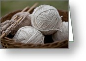 Yarn Greeting Cards - Basket of Yarn Greeting Card by Wilma  Birdwell