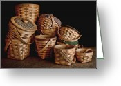 Wicker Basket Greeting Cards - Basket Still Life 01 Greeting Card by Tom Mc Nemar