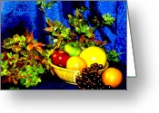 Fruit Basket Greeting Cards - Basket With Fruit Greeting Card by Nancy Mueller