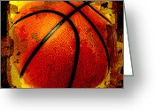 Basketball Greeting Cards - Basketball Abstract Greeting Card by David G Paul